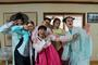 Molly Resnick '14 and her classmates try on traditional Korean dress called hanbok.