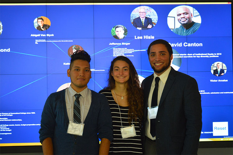 Ammerman Center scholars Joey Mercado '16, Ray Coti '16 and Virginia Gresham '17 demonstrated