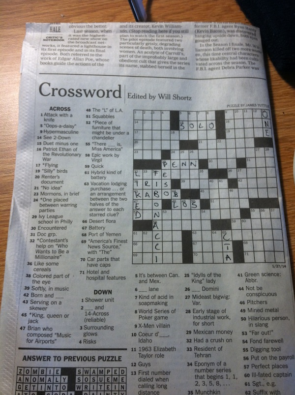 Almost there... a recent New York Times Crossword