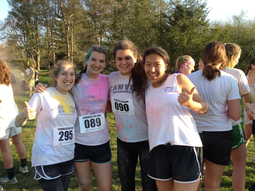 Alexis, left, with friends at the 5K Color Run