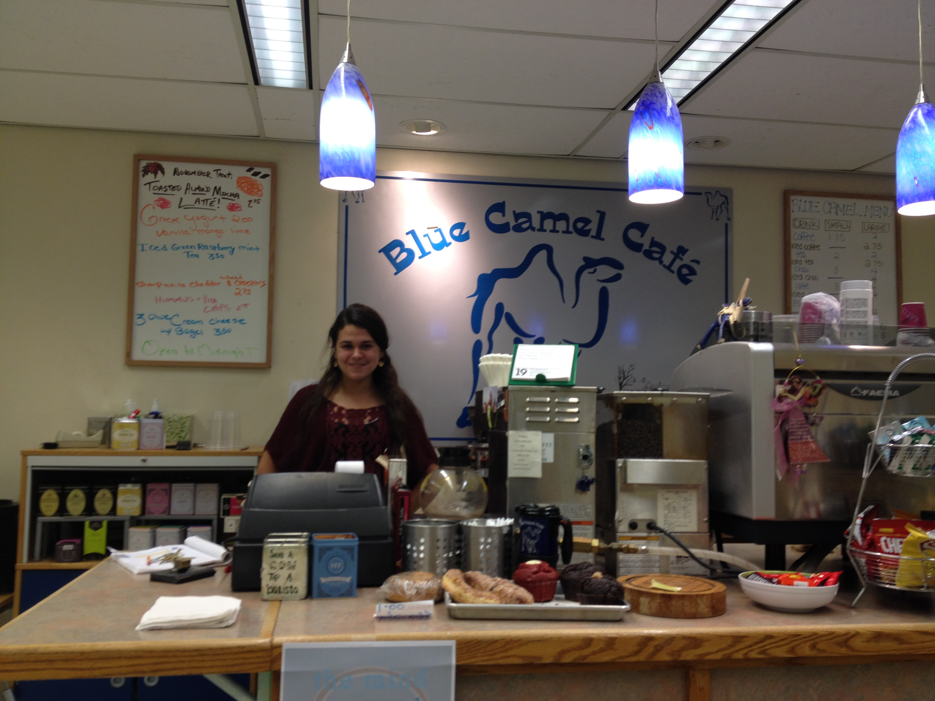 My friend Joanna works at the Blue Camel Café, in the basement of Shain Library