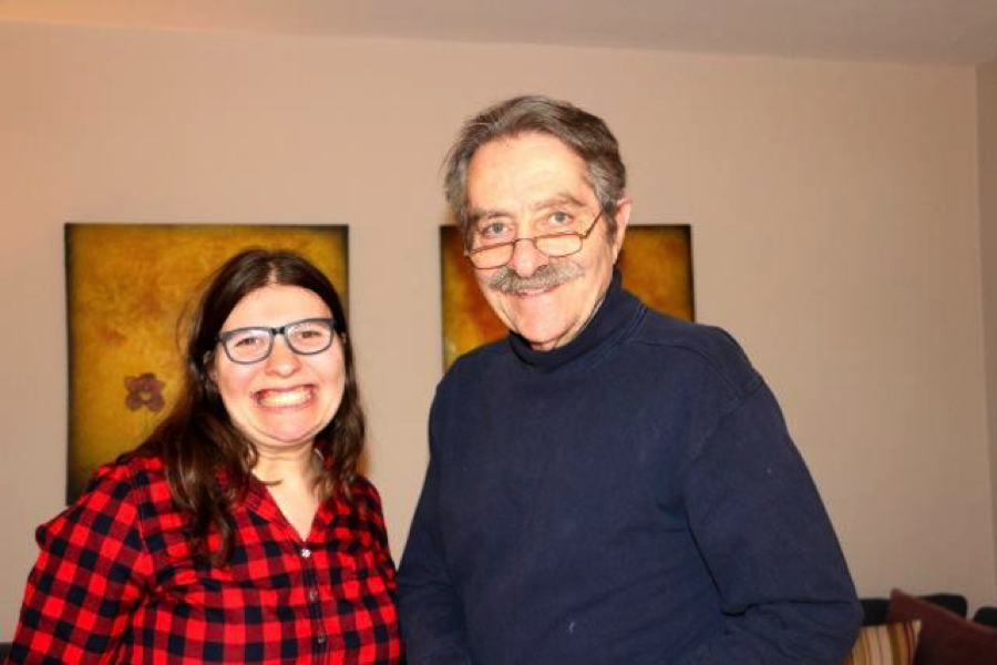 Julia Kaback and her Uncle Harvey post for a photo together