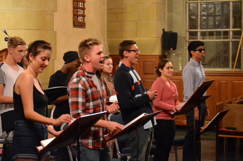 The cast performs RENT in Harkness Chapel