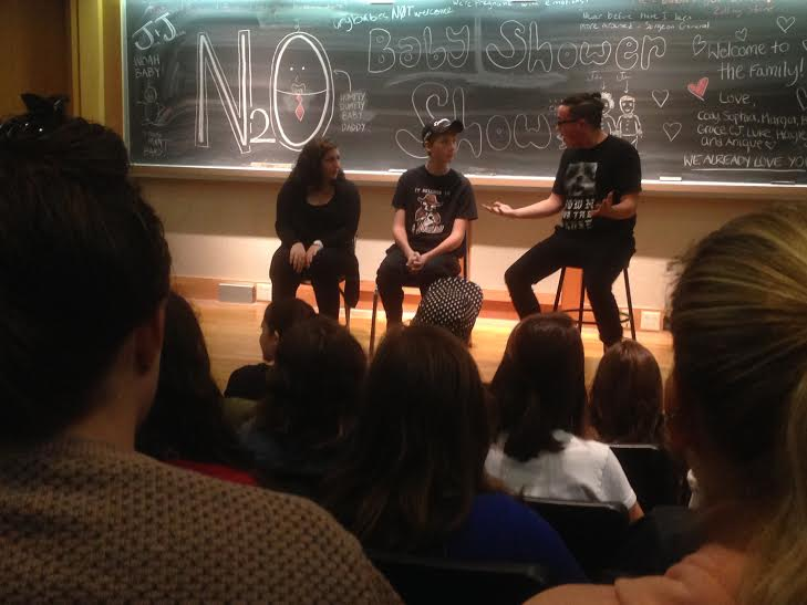 A student improv groups performs
