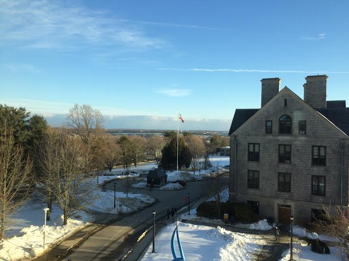 A view of Connecticut College in the snow, from the 4th floor of New London Hall
