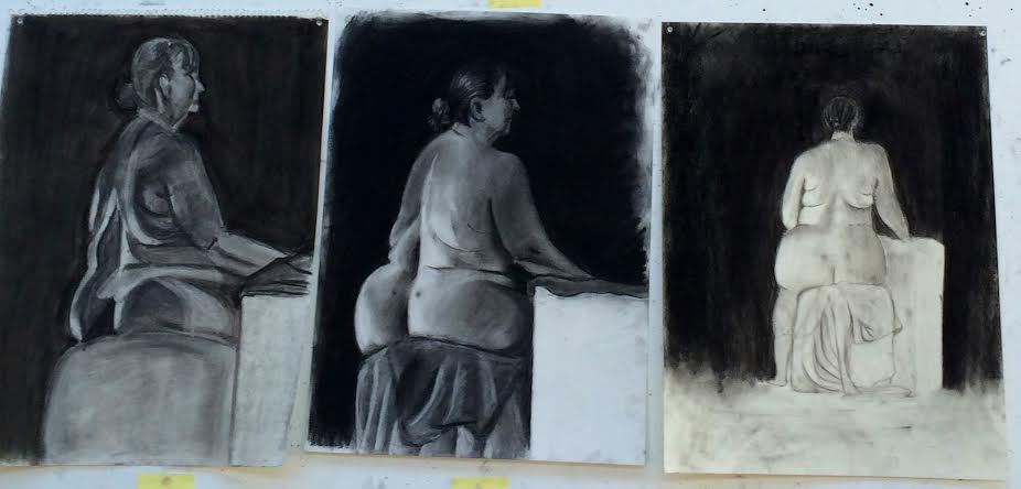Figure drawings of a nude model in 2D art