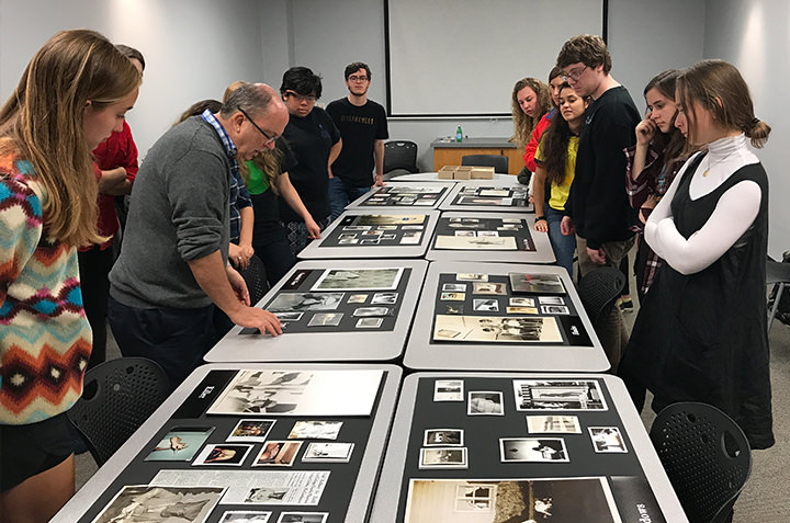 Students in Anthropology 299 (Secrecy - Power, Privilege and the Invisible) work with collector-in-residence Robert E. Jackson to curate an exhibition on images of