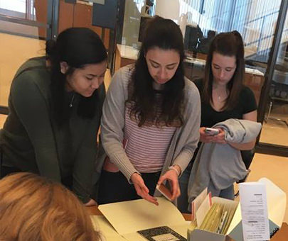 Education department students visit Beinecke Rare Books