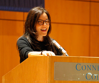 Author and alum Sloane Crosley gives a presentation on campus.