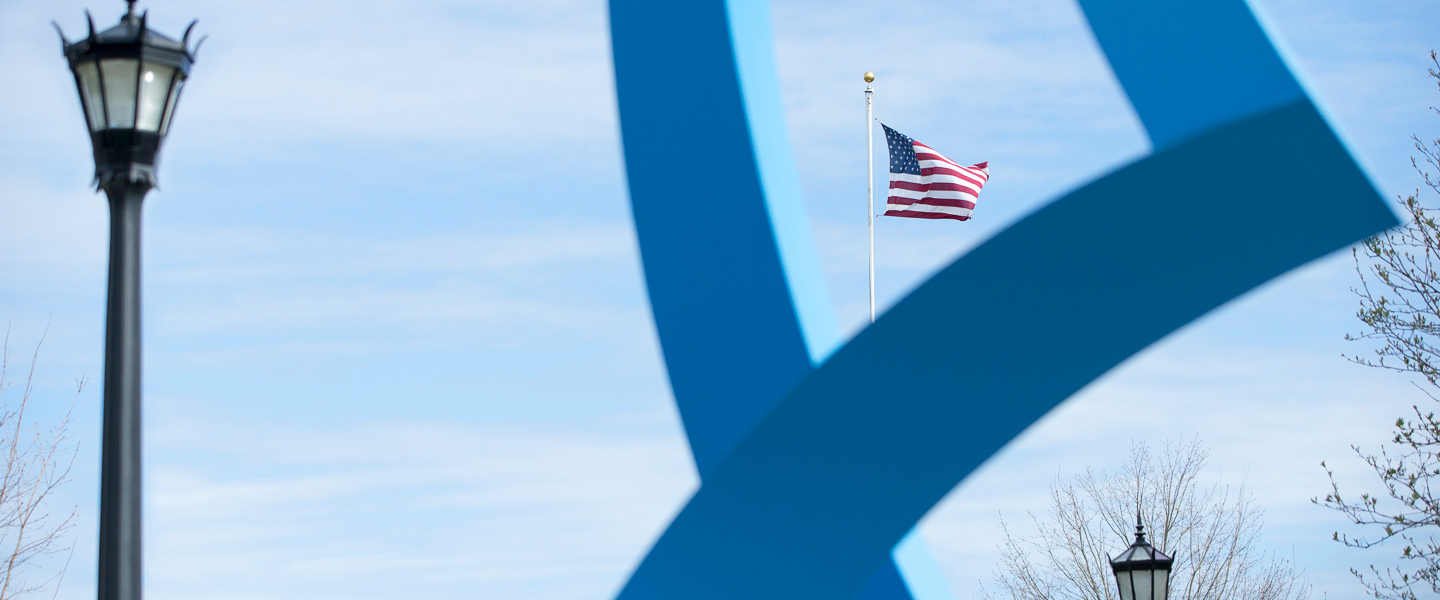 American flag framed by Synergy statue