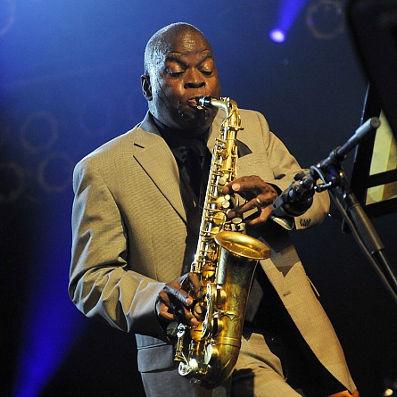 Photo of Maceo Parker by Ines Kaiser, playing the saxophone