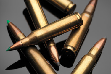 Closeup picture of rifle bullets