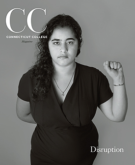 Cover of Winter 2018 issue of CC Magazine features a black and white image of Aditi Juneja '12