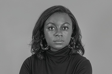 Black and white portrait of Jazmine Hughes '12