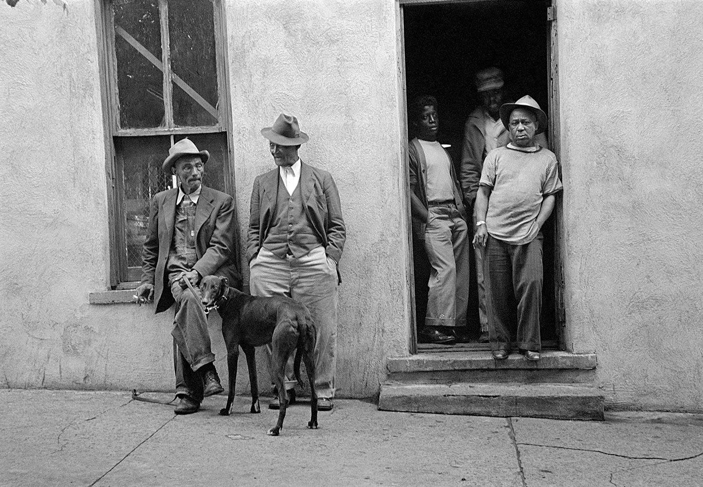 Pool Hall, Fort Scott, Kansas, 1950, photo of 5 men and a dog