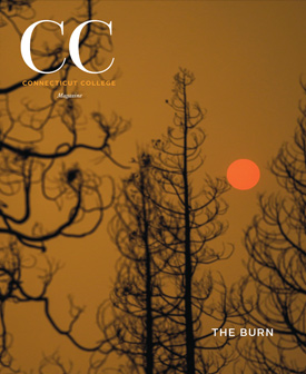 Cover of Fall 2020 magazine, shows burnt trees in a hazy sunrise