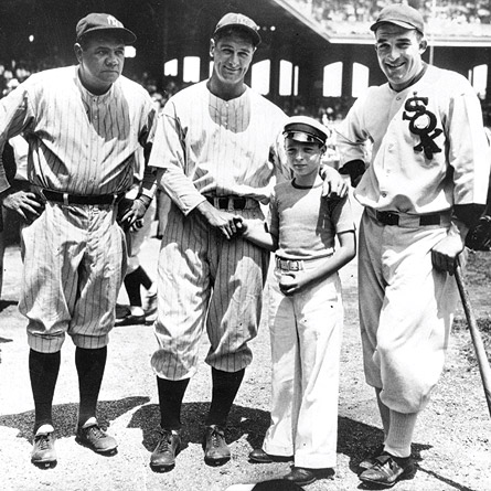 THE FIRST ALL-STARS: Babe Ruth, Lou Gehrig, Ed Diamond (a young fan), and Al Simmons at the very first All-Star Game in 1933. The Mid-Summer Classic debuted in front of a sellout crowd of 47,595 at Comiskey Park in Chicago. Photos throughout courtesy the National Baseball Hall of Fame Library, Cooperstown, N.Y.