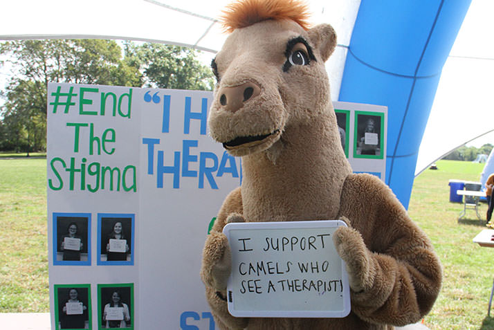 The College mascot supports Camels who see a therapist.