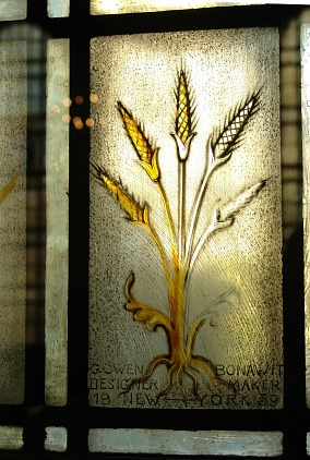 Harkness Chapel stained glass windows have a wheat theme