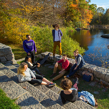 Students chatting on the steps in front of the pond in the Arboretum.