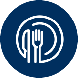 Plate icon that symbolizes Dinner for the Team