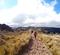 Students hiking through Quebrada del Condorito National Park, Argentina