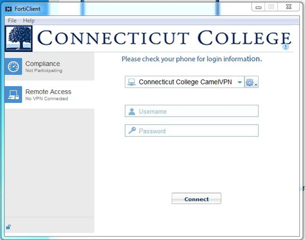 Fortinet VPN - PC · Connecticut College