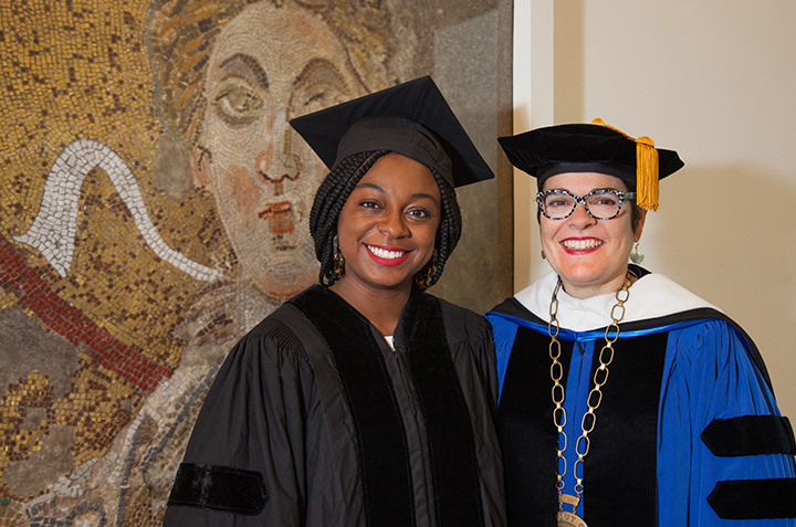 Alumna Jazmine Hughes '12 with President Bergeron after Hughes delivered the 100th Commencement speech.