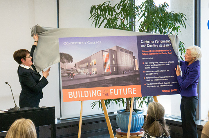 President Bergeron and Trustee Emerita Pam Zilly '75 unveil plans for transforming Palmer Auditorium and Castle Court into a vibrant center for performance and creative research.