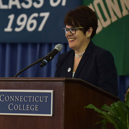 President Katherine Bergeron delivers the State of the College Address June 3 at Reunion 2017.