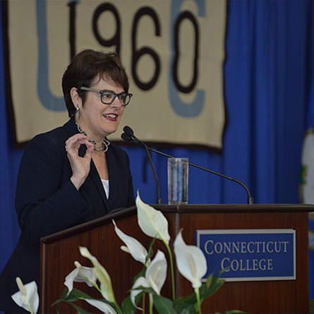 President Katherine Bergeron delivers the State of the College Address at Reunion 2016