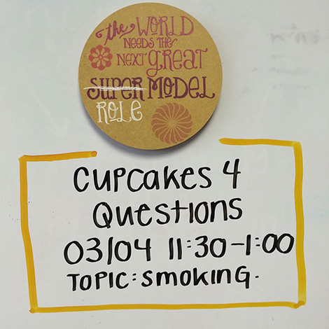 Advertisement for cupcakes and discussion about smoking
