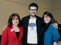 The 2013 Dr. Martin Luther King Jr. Service Award winners (from left): Joumana Hajj, Jovanni Jauregui '13 and professor Sandy Grande.