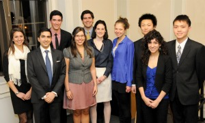 The 2013 Winthrop Scholars (from left): Seniors Catherine Smith, Aditya Harnal, Ryan Foley (in back), Jennifer Parry, Benjamin Allar (in back), Maura Hallisey, Christina Fogarasi, Bo Xiong (in back), Megan Maffucci and Vinh Tuan Pham. Not pictured: Jennifer Blagg, Andrew Greaves, Sarah Lamer and Devon Light-Wills.