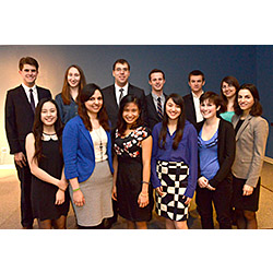 The 2014 Winthrop Scholars. Front row, from left: Yue Wu, Alexandra Lopez, Linh Vu, Yumi Kovic, Gabrielle Arenge, Alexandra Munson. Back row, from left: Andrew Majkut, Sarah Taylor, Emil Lalov, Daniel Gutierrez, John  Dronzek and Mary Buchanan. Not pictured: Louis D'Amanda.