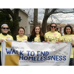 Holleran Center students and Walk to End Homelessness organizers (L-R) Madeline McHale '17, Emma Anderson '17, Kiersten Anderson '17, Molly Rosen '17 and Heidi Munoz '17