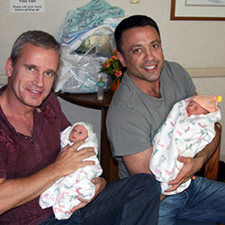 Brian Rosenberg '87 (right) and his husband, Ferd van Gameren, seen here with twin daughters Ella and Sadie, founded Gays with Kids in 2014 to help guide gay fathers through parenthood.