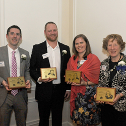 The 2015 Connecticut College Athletic Hall of Fame class: (L-R) Adam Fitzgerald '03, Timothy Boyd '01, Kerry Newhall '98 and former coach Anne Parmenter.