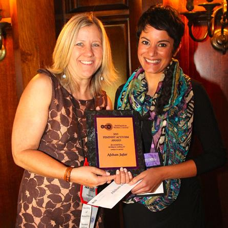 Sociology professor Afshan Jafar (right) recently received the 2015 Feminist Activism Award from Sociologists for Women in Society.