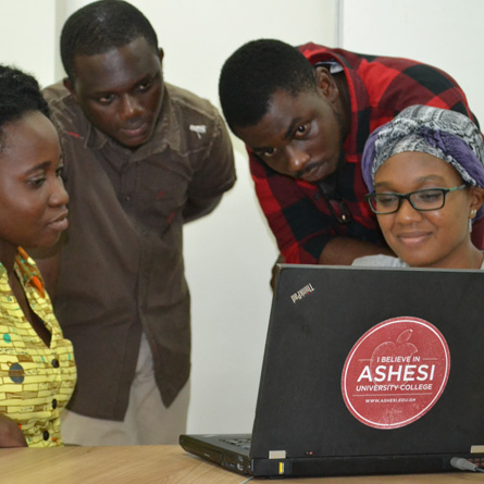 Students from Ashesi University College in Ghana took part in a Skype session with members of the College community during a recent faculty trip to the campus.