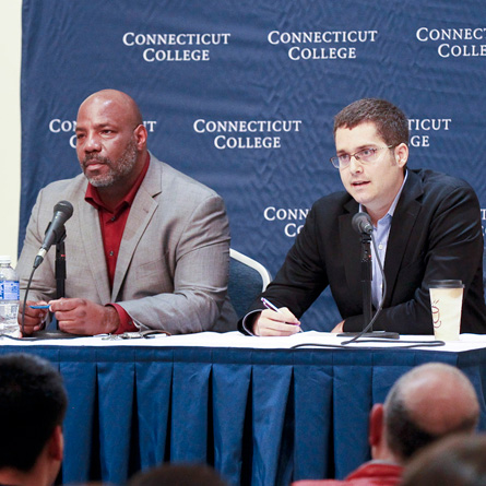 Jelani Cobb (left) and Conor Friedersdorf offered differing opinions on race and free speech at a recent College event, moderated by NPR's John Dankosky.