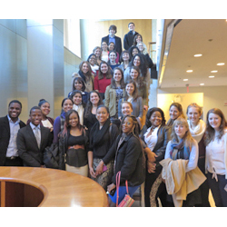 Students from the College's Holleran Center recently visited the United Nations in New York City, touring assembly rooms, listening in on briefings and dining with delegates.