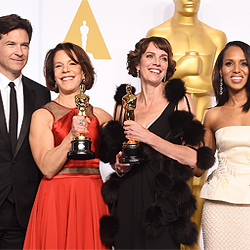 Dana Heinz Perry '85 (center, in black) and Ellen Goosenberg Kent produced the HBO documentary