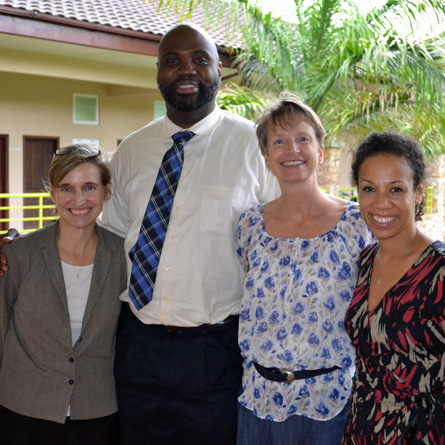 Suzanne Fox Buchele '85 (second from right) met with College faculty members Amy Dooling (far left), David Canton (center) and Courtney Baker during their recent trip to Ghana.