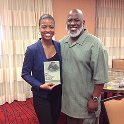 Chakena Sims '16 poses with Akinyele Umoja, a scholar-activist and author of