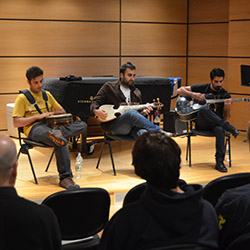 Members of the Pakistani folk-rock group Khumariyaan talk about their music and give a demonstration for Connecticut College music students.