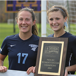Women's soccer players Astrid Kempainen '15, left, and Grace Bilodeau '15 are two of the 52 Connecticut College student-athletes named to the NESCAC Fall All-Academic Team.