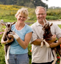 Allison Hooper '81 (left) and Bob Reese founded Vermont Creamery with a commitment to sustainability, and their high-quality dairy products have received awards across the globe.