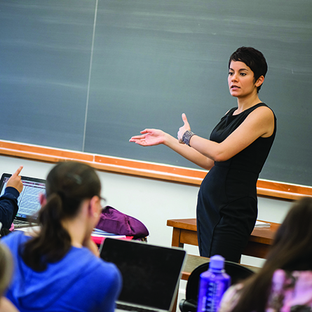 Sociology Professor Afshan Jafar in the classroom.