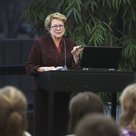 Carol Geary Schneider speaks at Conn.